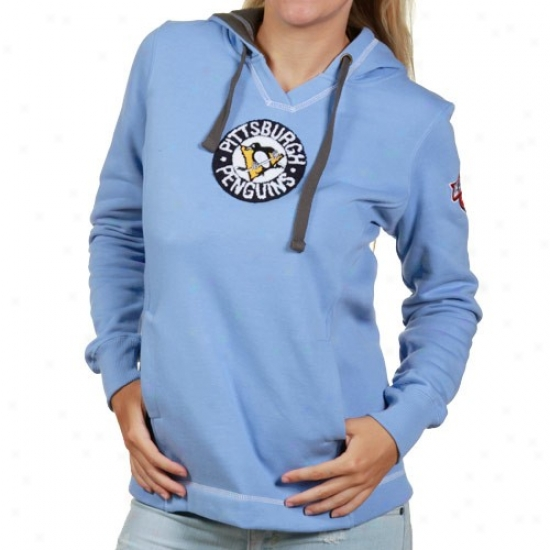 Pittsburgh Penguin Sweat Shirts : Majestic Pittsburggh Penguin Ladies Light Blue Pucker Up Pullover Sweat Shirts