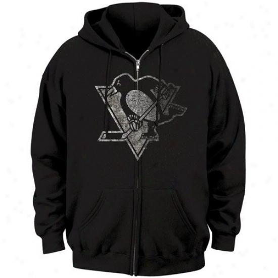 Pittsburgh Penguin Sweatshirt : Majestic Pittsburgh Penguin Black Official Logo Fulk Zip Sweztshirt