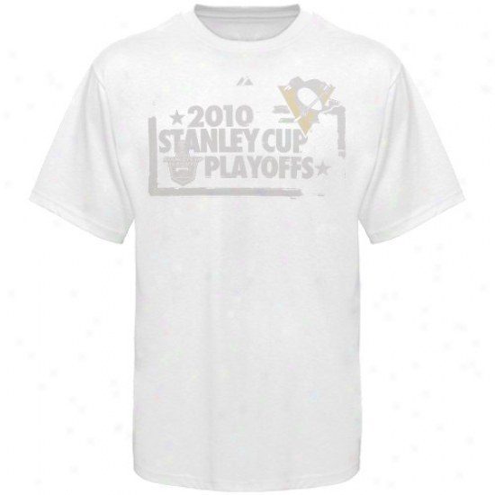 Pittsburgh Penguin T Shirt : Majestic Pittsburgh Penguin White 2010 Stanley Cup Playlffs Tonal T Shirt