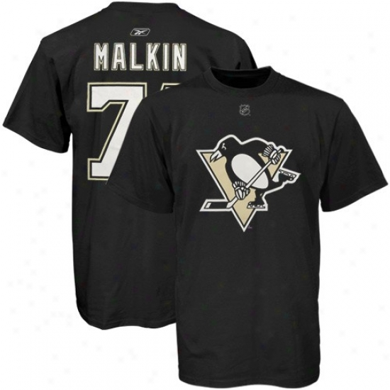 Pittsburgh Penguin T Shirt : Reebok Pittsburgh Penguin #71 Evgeni Malkin Black Player T Shirt