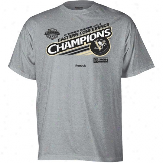 Pittsburgh Penguin T Shirt : Reebok Pittsburgh Penguin Ash 2009 Nhl Eastern Conference Champions Locker Room T Shirt