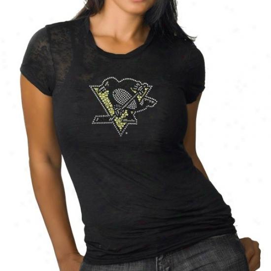 Pittsburgh Penguin Tees : Pittsburgh Penguin Ladies Black Rhinestone Burnout Premium Tees