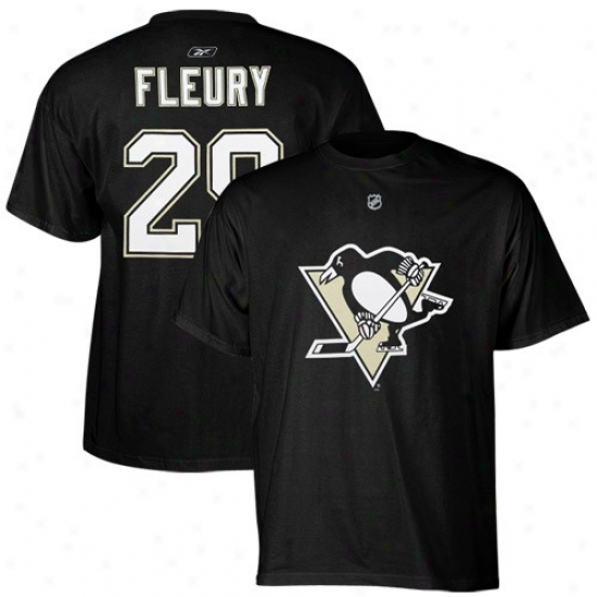 Pittsburgh Penguin Tees : Reebok Pittsburgh Penguin #29 Marc-andre Fleury Black Net Gamester Tees