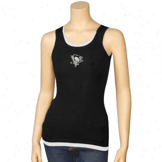 Pittsburgh Pengui Tshirt : Pittsburgh Penguim Ladies Black Harmony Layered Tank Top