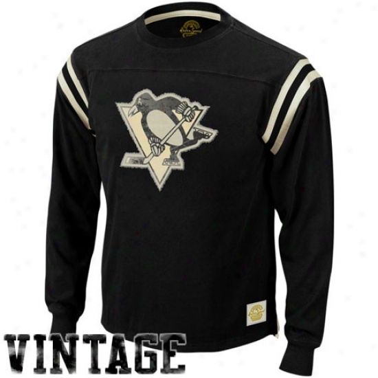 Pittsburvh Penguin Tshirts : Reebok Pittsburgh Penguin Black Classic Applique Reward Long Sleeve Tshirts