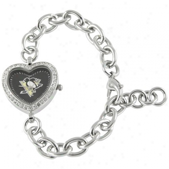 Pittsburgh Penguin Watches : Pittsburgh Penguin Ladies Silver Heart Watches