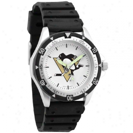 Pittsburgh Penguin Wrist Watch : Pittsbyrgh Penguin Men's Black Option Wrist Watch