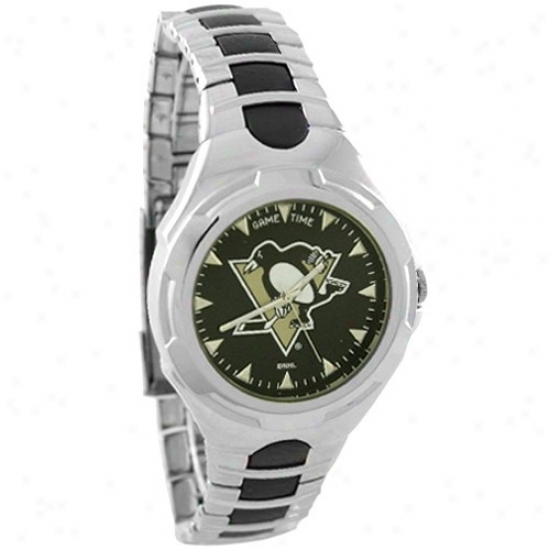 Pittsburgh Penguin Wrist Mark : Pittsburgh Penguin Staihless Steel Victory Wrist Watch