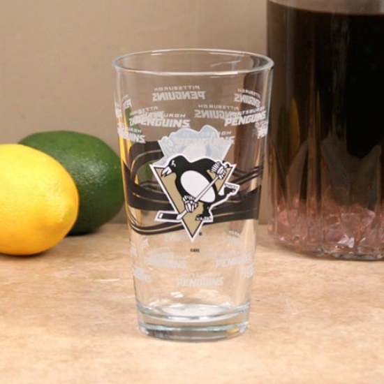 Pittsburgh Penguins 16oz. Satin Etch Pint Glass
