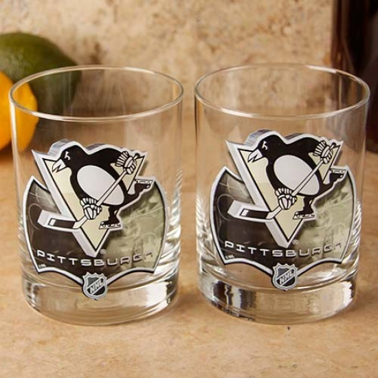 Pittsburgh Penguins 2-pack Enhanced Hi-def 14oz. Executive Rocks Glass