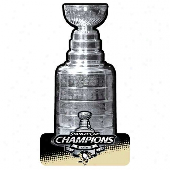 """pittsburgh Penguins 2009 Nhl Stanley Cup Champions 11"""" X 17"""" Plastic Stanley Cup Sign"""