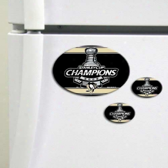 Pittsburgh Penguins 2009 Nhl Stanley Cup Champions 3-pack Magnet Sheet
