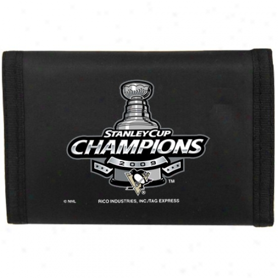 Pittsburgh Penguins 2009 Nhl Stanley Cup Champions Black Nylon Tri-fold Wallet
