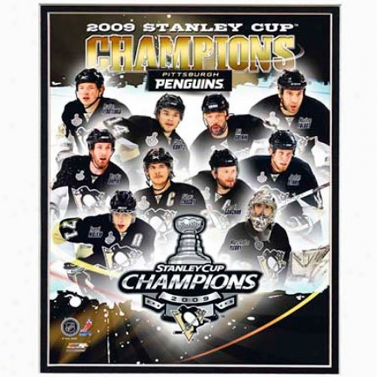"""pittsburgh Penguihs 2009 Nhl Stanley Cup Champions 8"""" X 10"""" Team Composite Matted Photogra0h"""