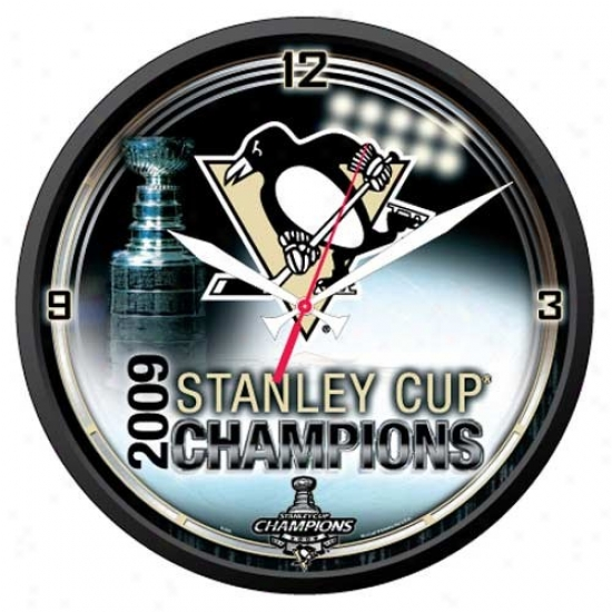"""pittsburgh Penguins 2009 Nhl Stanley Cup Champions 12"""" Round Wall Clock"""