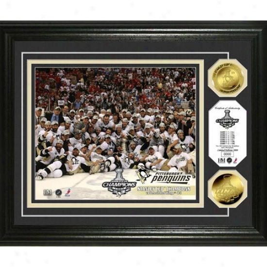 Pittsburgh Penguins 2009 Nhl Stanley Cup Champions Celebration 24kt Gold Coin Photo Mint