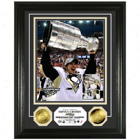 Pittsburgh Penguins 2009 Nhl Stanley Cup Champions Sidney Crosby & The Stanley Cup 24kt Gold Coin Photo Mint