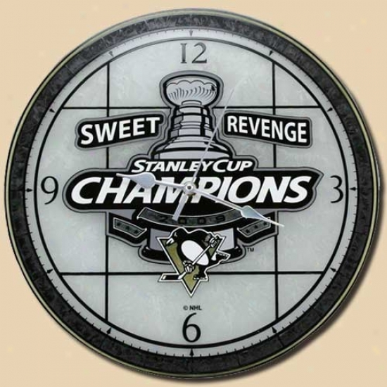 Pittsurgh Penguins 2009 Stanley Cup Champions Sweet Revenge Art-glass Wall Clock