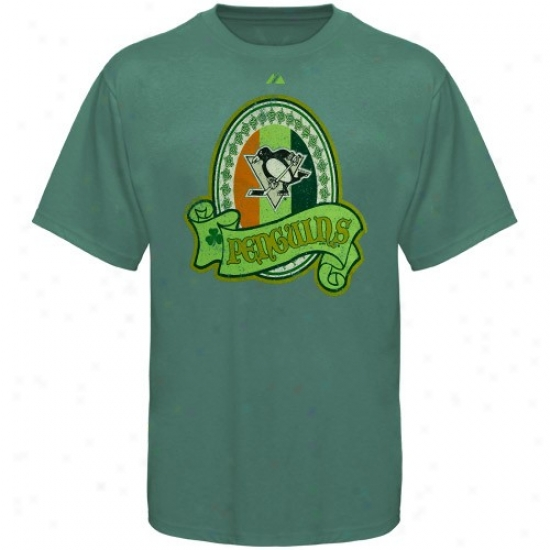Pittsburgh Penguins Apparel: Majestic Pittsburgh Penguins Green Irish Boast T-shirt