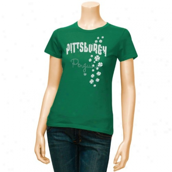 Pittsburgh Penguins Apparel: Old Time Hockey Pittsburgh Penguins Ladies Kelly Green Tory T-shirt