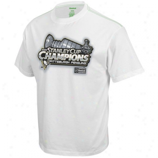 Pittsburgh Penguins Apparel: Reebok Pittsburgh Penguins White 2009 Nhl Stanley Cup Champions Alpha Cup Organized Locker Ropm T-ehirt
