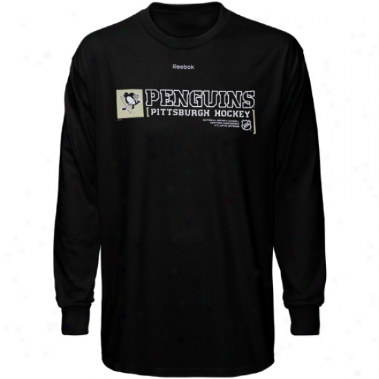 Pirtsburgh Penguins Apparel: Reebok Pittsburgh Penguins Black Call Symbol Long Sleeve Tshirt