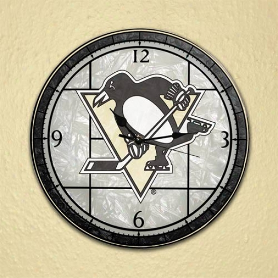 Pittsbrgh Penguins Art-glass Clock