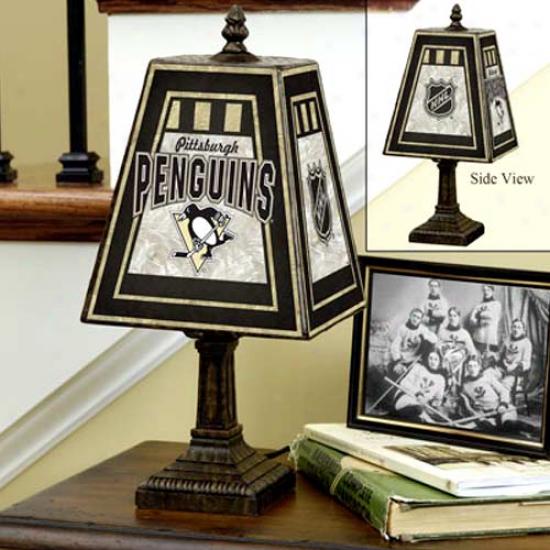 Pittsburgh Penguins Art Glass Lamp