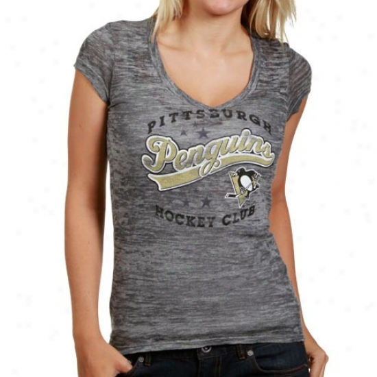 Pittsburgh Penguins Dress: Majestic Pittsburgh Penguins Ladies Gray Appeal Play Tri-blend Sluv V-neck T-shirt