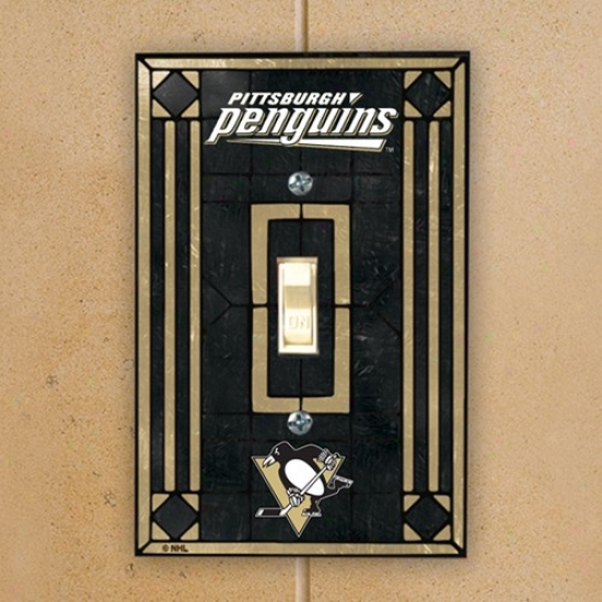 Pittsburgh Penguins Black Art-glass Switch Plate Conceal
