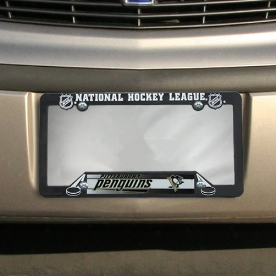 Pittsburgh Penguins Black Plastic License Plate Farme