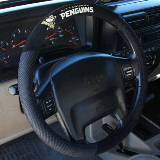 Pittsburgh Penguins Black Poly Suede & Ensnare Steering Wheel Cover