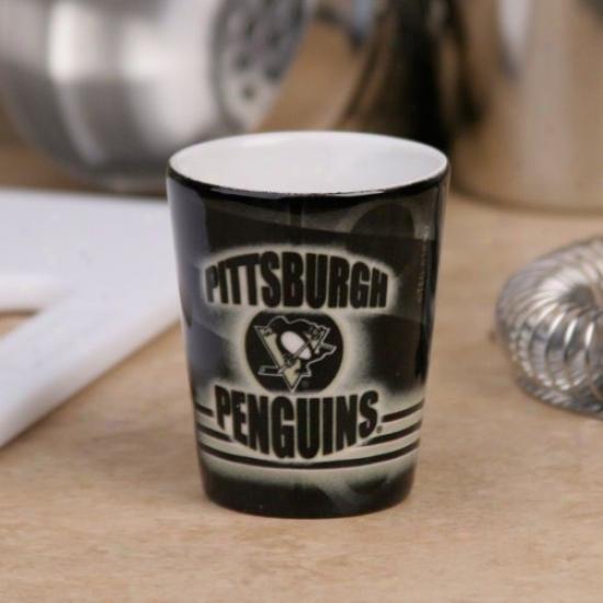 Pittsburgh Penguins Black Slapshot Ceramic Shot Glass