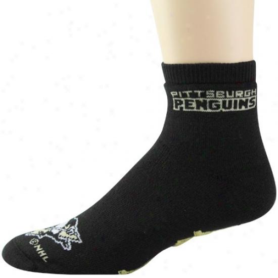 Pittsburgh Penguins Black Slipper Socks