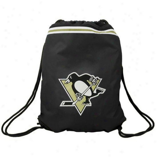 Pittsburgh Penguins Black Team Logo Drawstring Backpack
