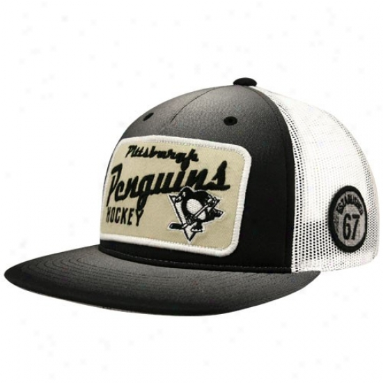 Pittsburgh Penguins Cap : Reebok Pittsburgh Penguins Black-natural-gold Adjustable Trucker Cap