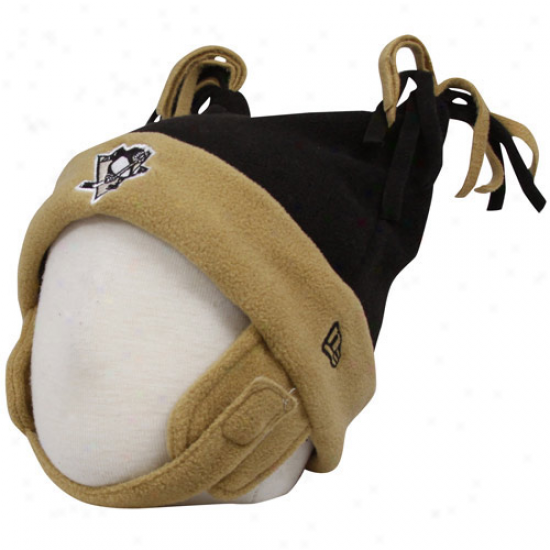 Pittsburgh Penguins Caps : New Point of time Pittsburgh Penguuns Babe Black-gold Double Bunny Cuffed Fleece Beanie