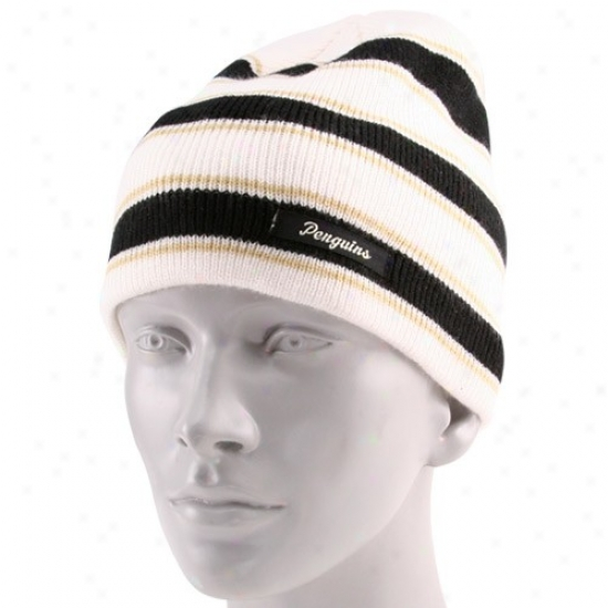 Pittsburgh Penguins Caps : Reebok Pittsburgh Penguins Ladies White Striped Multi Team Colors Knit Beanie