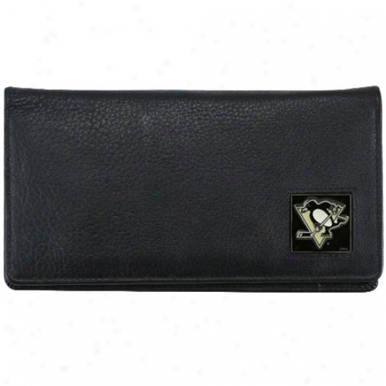 Pittsburgh Penguins Executive Black Leather Checkbook Cover