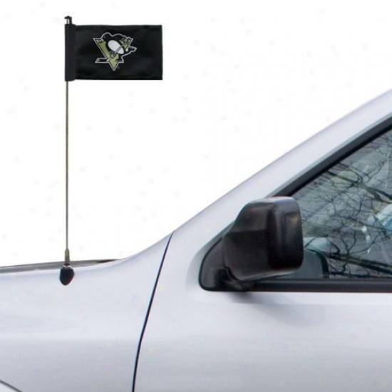 Pittsburgh Penguins Flag : Pittsburgh Penguins Black Antenna Flag