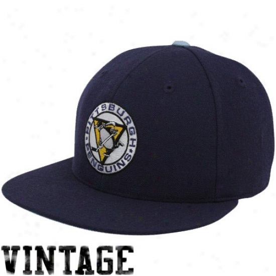 Pittsburgh Penguins Gear: Mithchell & Ness Pittsburgh Penguins Navy Blue Vintage Logo Fitted Hat