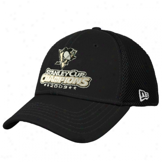 Pitttsburgh Pebguins Gear: New Era Pittsburgh Penguins 2009 Nhl Stanley Cup Champions Black Neo 39thirty Stretch Fit Hat