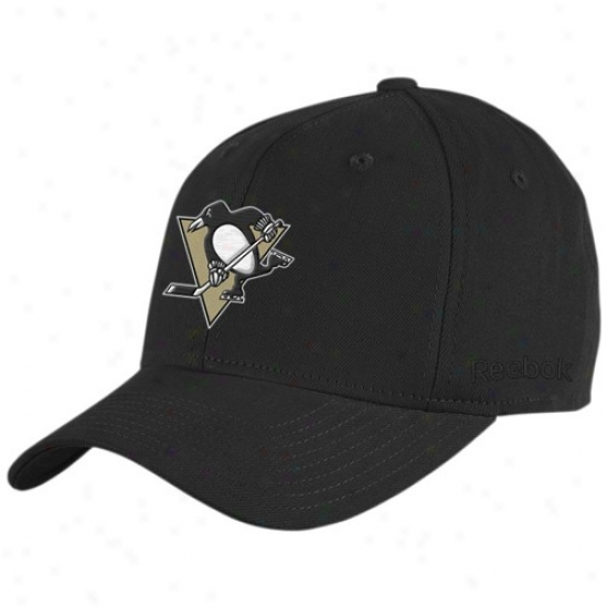 Pittsburgh Penguins Gear: Reebok Pittsburgh Penguins Black Basic Logo Flex Paroxysm Hat