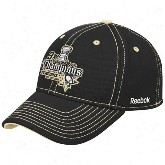 Pittsburgh Penguins Gear: Reebok Pittsburgh Penguins Black 3-time Chamoions Flex Fit Hat