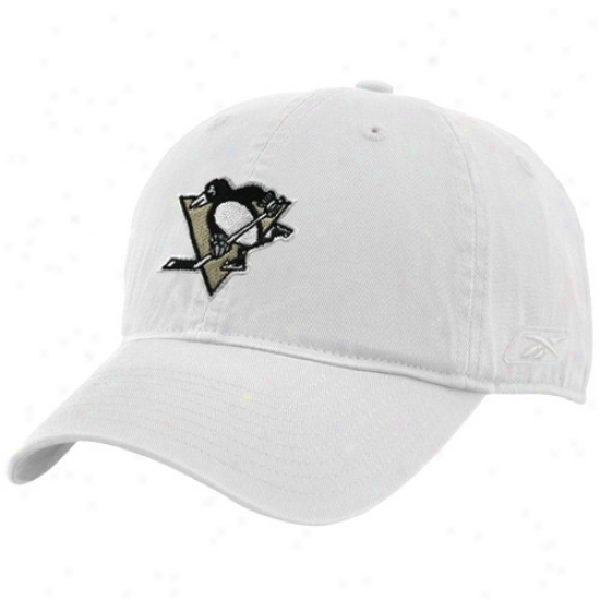 Pittsburgh Penguinss Gear: Reebok Pittsburgh Penguins White Basic Logo Adjustable Hat