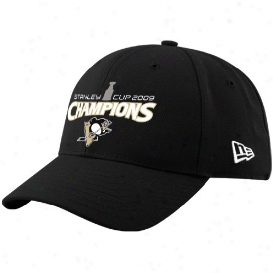 Pittsburgh Penguins Hat : New Era Pittsburgh Penguins 2009 Nhl Stanley Cup Champions Black Wool Structured Adjustable Hat