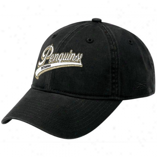 Pittsburgh Penguins Hat : Reebok Pittsburgh Penguins Ladies Black Sparkle Logo Adjustable Slouch Hat