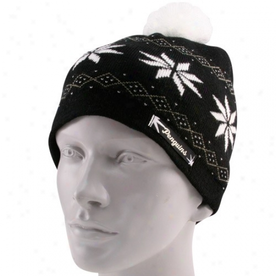 Pittsburgh Penguins Cardinal's office : Reebok Pittsburgh Penguins Ladies Black Cuffless Knit Beanie With Pom
