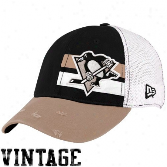 Pittsburvh Penguins Hats : New Point of time Pittsburgh Penguins White Double Stripe Vintage Flex Be suited Hats