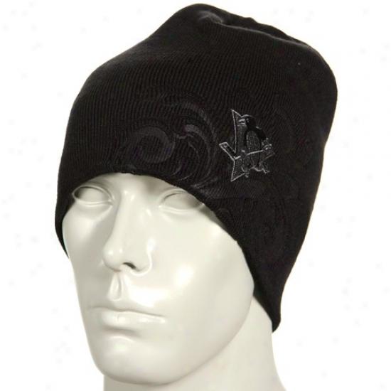 Pittsburgh Penguins Hats : Reebok Pittsburgh Penguins Black Flourished Knit Beanie